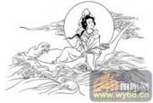 观音-白描图-20慈航万里-观音菩萨国画白描