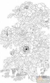 工笔白描牡丹画-矢量图-6宝贵吉祥-牡丹刻绘图