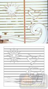 艺术玻璃-滑动门系列2-海浪海鸥-00085