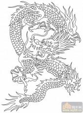 龙-白描图-凤舞龙蟠-long146-龙图案
