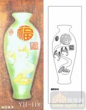 艺术玻璃-肌理雕刻系列1-福到喜来-00118