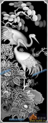 04-仙鹤-050-花鸟浮雕灰度图