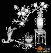 八宝012-石榴-四季花之石榴-浮雕灰度图