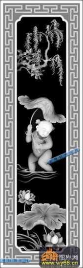 童子细-4号童子-童子细浮雕灰度图