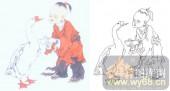 28人及动物-玩鹅图-00003-装饰玻璃