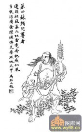 1马企周十八罗汉-白描图-4第四托塔罗汉:苏频陀-罗汉雕刻图案