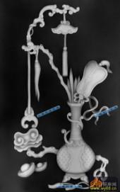 古董架001-古典花瓶-011-古董架灰度图案