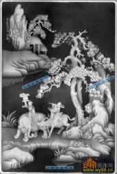 八仙桌-八仙柜面03-八仙桌浮雕灰度图