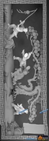 百子图002-童戏-4417-浮雕灰度图