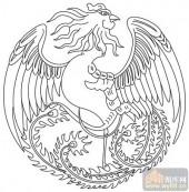 凤-白描图-凤凰于飞-huangf040-传统凤图案
