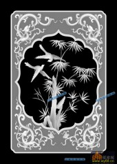 04-竹-079-花鸟灰度图案