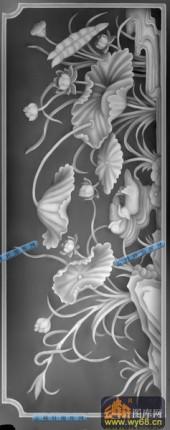 01-莲荷-059-花鸟雕刻灰度图