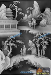 八仙多宝格-多宝4-八仙多宝格雕刻灰度图