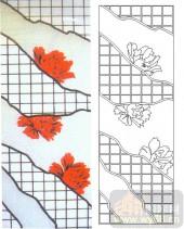 05肌理雕刻系列样图-红色牡丹-00100-雕刻玻璃图案