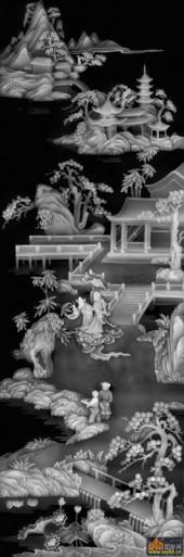 八仙图-仙境-02-浮雕灰度图