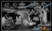 百子图002-四童与琴-百子图精雕灰度图