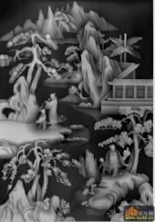 八仙图-八仙多宝格-多宝1-八仙浮雕灰度图