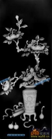 01-牡丹-027-花鸟灰度图案