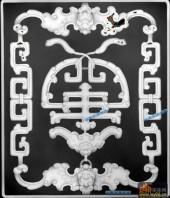 古董架002-蝙蝠纹-018-古董架精雕灰度图