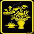 菊花花瓶背板-明清家具精雕图案