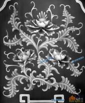 宝座002-花团锦簇-005-宝座精雕灰度图