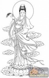 观音-白描图-55净水观音-5-观音菩萨雕刻图片