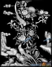 四季花鸟-牡丹1-四季花鸟综合灰度图