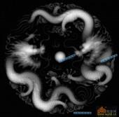 03-二龙戏珠-068-龙凤精雕灰度图