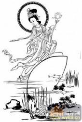 观音-白描图-35蛤蜊观音-观音菩萨雕刻图案