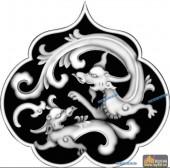 草龙-团龙-050-龙凤灰度图