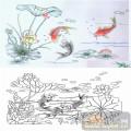 22传统花鸟鱼(1)-鲤鱼戏水-00027-雕刻玻璃图案