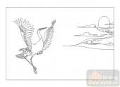 04花草禽鸟-延颈鹤望-00023-雕刻玻璃图案