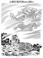 虎第五版-白描图-龙精虎猛-47-老虎雕刻图片