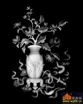 八宝014-菊花-028菊花-雕刻灰度图