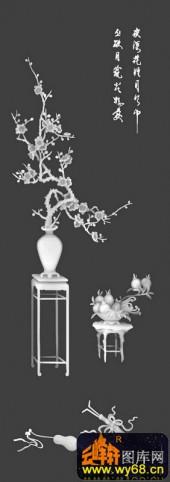 八宝015-梅花-梅(美)中知足3-八仙浮雕灰度图