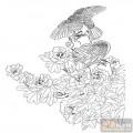 工笔白描牡丹画-花中之王-mdbm008-传统牡丹图案