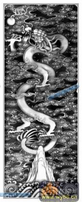 竖-龙珠-098-龙凤浮雕灰度图