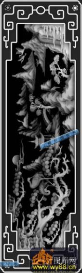 01-亭台楼阁-038-玉雕浮雕灰度图