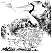白描仙鹤-矢量图-日出仙鹤-23-仙鹤雕刻图案