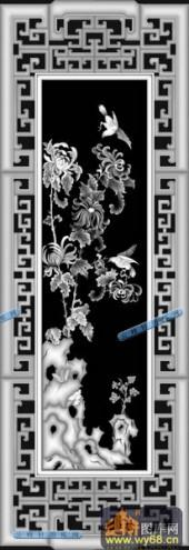 01-菊花-083-花鸟精雕灰度图
