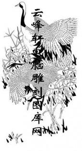 白描仙鹤-矢量图-长身鹤立-17-电子版仙鹤
