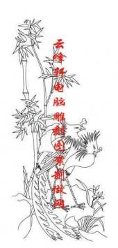 梅兰竹菊-白描图-竹子 凤凰-mlxj001-梅兰竹菊雕刻图案