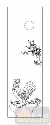 03动物系列-梅花金鸡-00051-喷砂玻璃