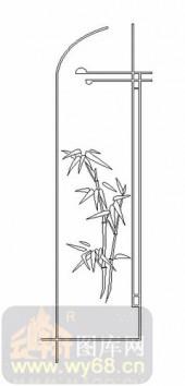 艺术玻璃图-08四扇门(4)-竹叶-00041