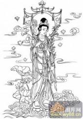 观音-白描图-12持莲观音-3-观音菩萨雕刻图片