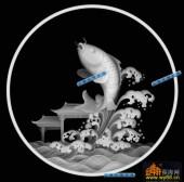 鱼图-鱼跃-029-蝙蝠鱼精雕灰度图