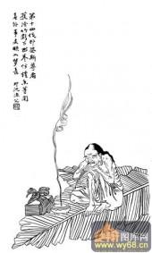 1马企周十八罗汉-白描图-14第十四芭蕉罗汉:伐那婆斯-罗汉全图