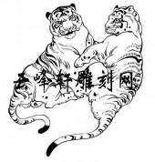 虎3-矢量图-双虎-105-虎雕刻图案