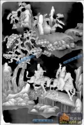 八仙桌-八仙柜面02-八仙桌浮雕灰度图