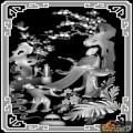 树 花 人物-石雕灰度图